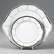 Тарелка для торта MENUET Отводка платина, держатели, ручки - платина 27 см